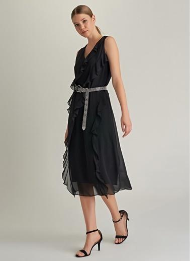 NGSTYLE Volan Detaylı V Yaka Elbise Siyah